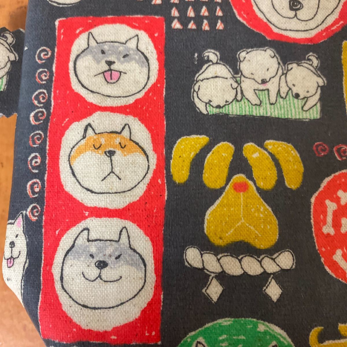 173 化粧ポーチ ラミネートポーチ メイクポーチ 柴犬 ハンドメイド