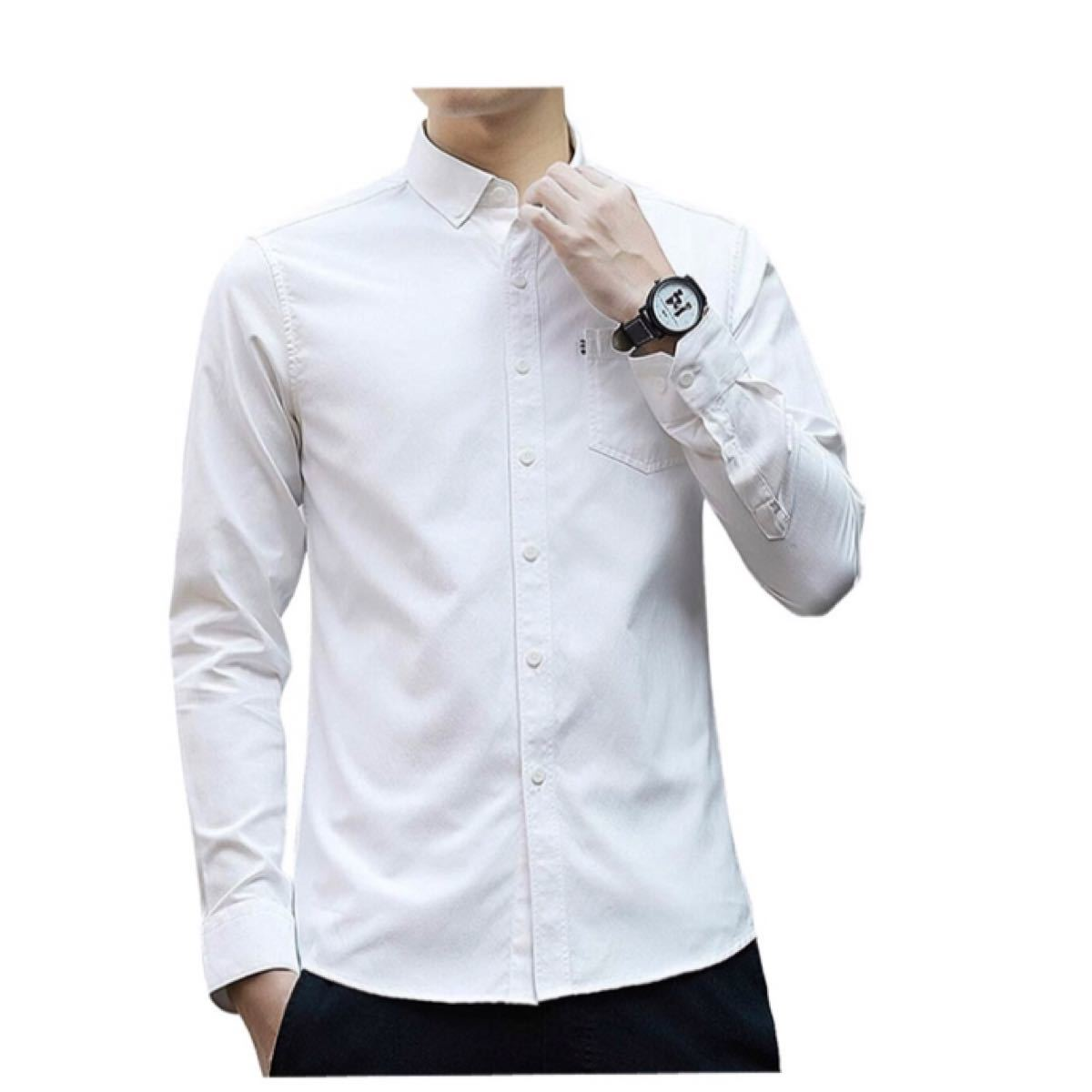 シャツ メンズ 長袖 秋服 無地 オックスフォード シャツ オシャレ
