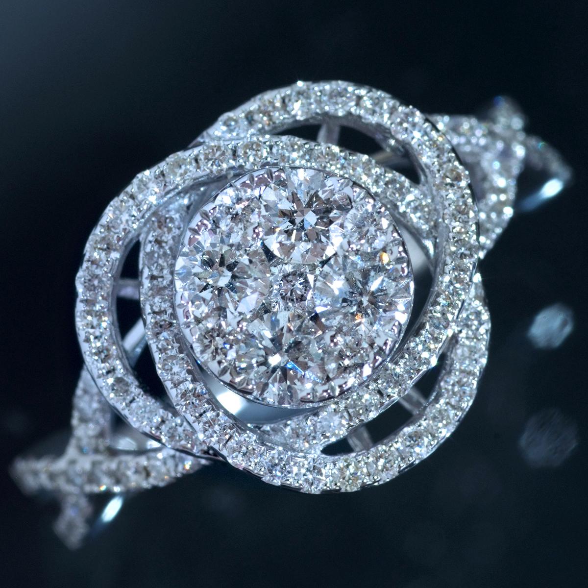 *R4377【Rose Blossom Diamond Ring】令和3年現行モデル!婚約指輪にも!天然上質ダイヤモンド0.90ct 最高級18金WG無垢リング 新品
