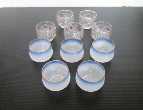 【お買い得品】 ★ 冷茶コップ ★ ブルー 花模様 2種類 5客セット 箱なし