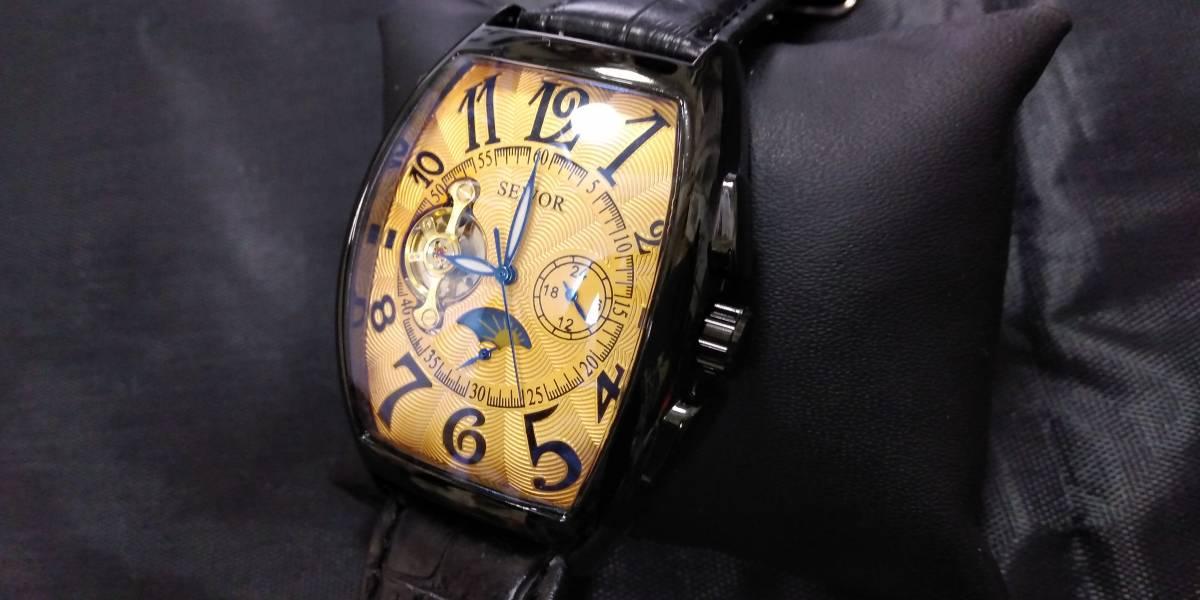 機械式自動巻き腕時計 オールドフェイス ブラックフレーム ブラックバンド SEWOR オマージュウォッチ 世界中で大人気 新品 国内発送