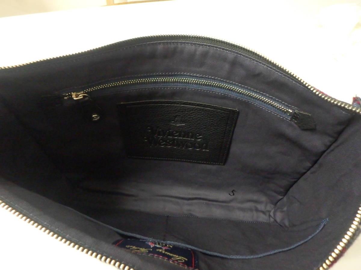 Vivienne Westwood ヴィヴィアンウエストウッド 英国MOON チェックツイード クラッチバッグ ネイビー ウール/牛革 メンズ VWB950-30 新品