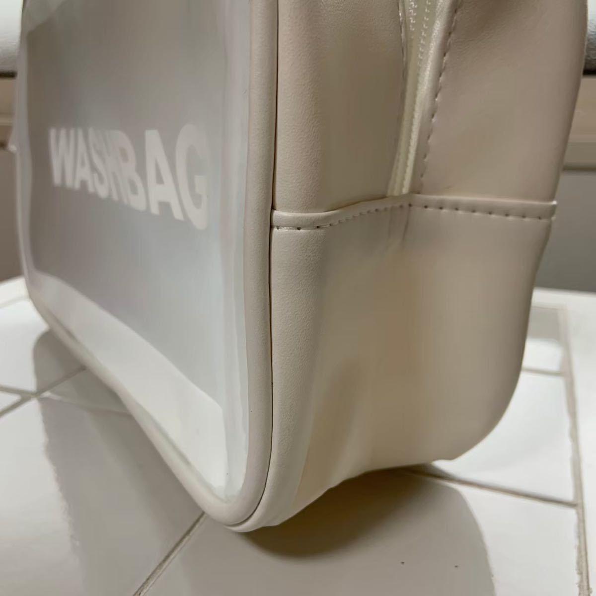 トラベルポーチ 白 防水 大容量 ジムバッグ  ヨガポーチ メイクポーチ 丸洗い