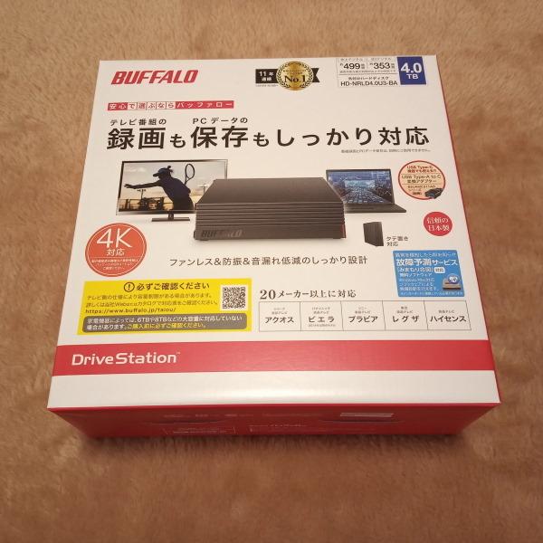 新品未開封 即決 送料無料 BUFFALO USB3.1/USB3.0用 外付けHDD 4TB HD-NRLD4.0U3-BA