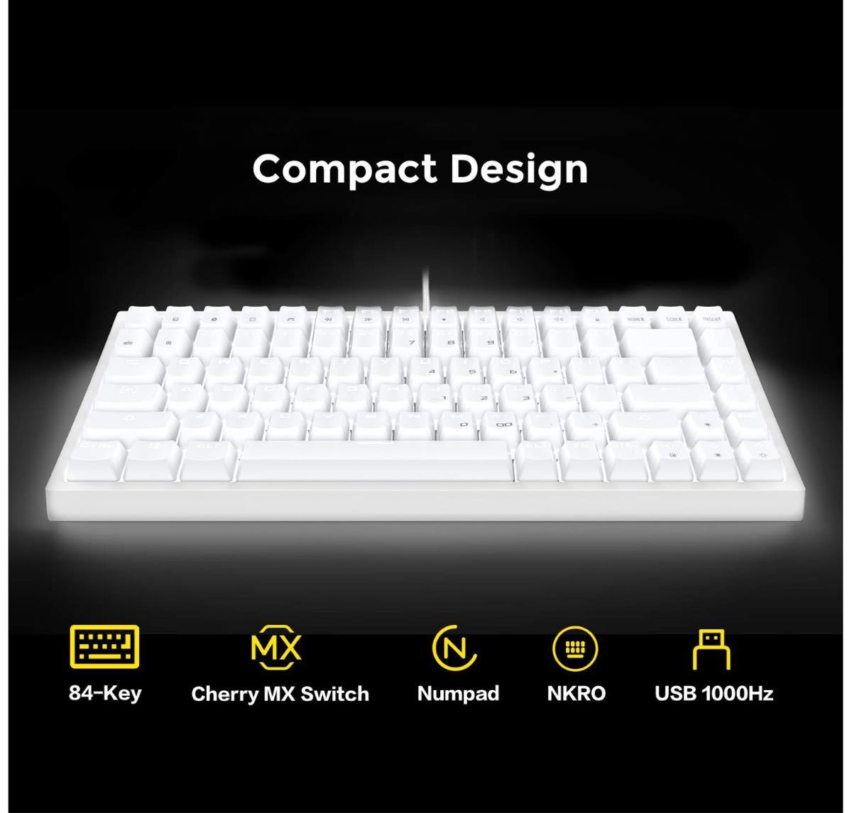 ホワイトLEDバックライト・メカニカルブルースイッチUSB有線キーボード新品