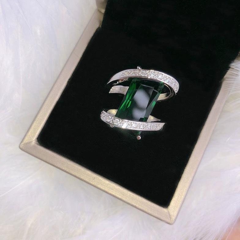 【 1円スタート & 新品 数量限定 】エメラルド ダイヤモンドリング ★サイズ選択可 一点物 最高級 アクセサリー プラチナ仕上 SKN-027_画像5