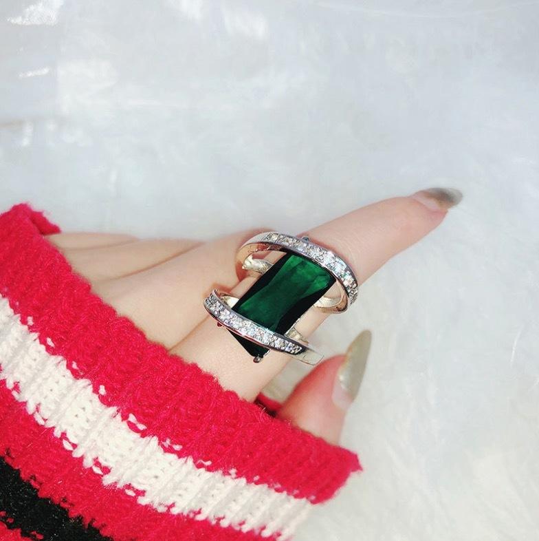 【 1円スタート & 新品 数量限定 】エメラルド ダイヤモンドリング ★サイズ選択可 一点物 最高級 アクセサリー プラチナ仕上 SKN-027_画像4