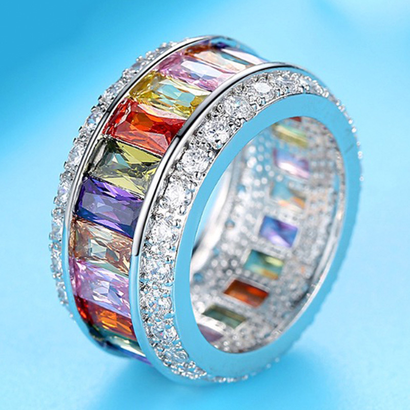 【 1円スタート & 新品 数量限定 】最高級 5A カラー ダイヤモンドリング モアサナイト ダイヤモンド プラチナ 仕上げ SKN-042_画像4