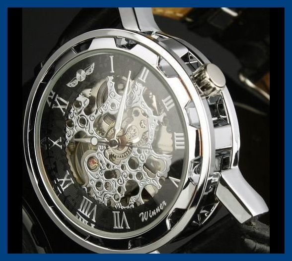 1■新品・未使用■機械式腕時計(白) クロノグラフ アンティーク 正規品 クオーツエルジンウオッチ スケルトン シルバーゴールド ウイナー③_画像5