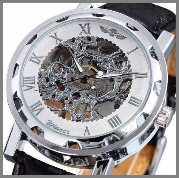 1■新品・未使用■機械式腕時計(白) クロノグラフ アンティーク 正規品 クオーツエルジンウオッチ スケルトン シルバーゴールド ウイナー③_画像1
