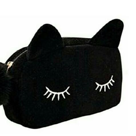 ポーチ☆黒 猫耳 化粧ポーチ コスメポーチ ミニポーチ バッグインバッグ