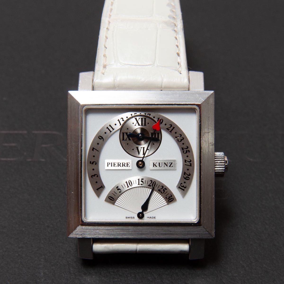 定価168万円 PIERRE KUNZ ピエールクンツ L015 SDR レトログレード セコンド&デイト 18KGGグレーゴールド ホワイトレザー オートマ 腕時計