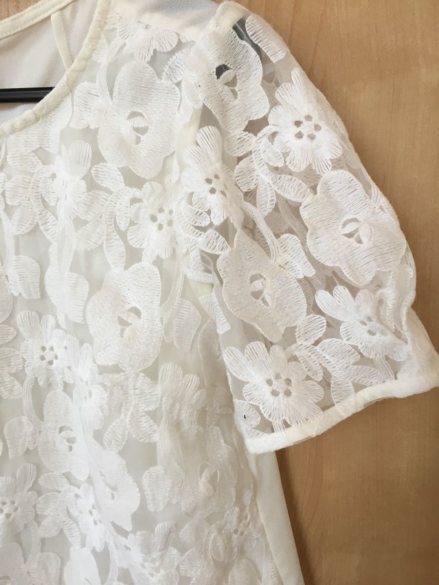 レースブラウス  トップス ホワイト フォーマル 半袖カットソー 花柄