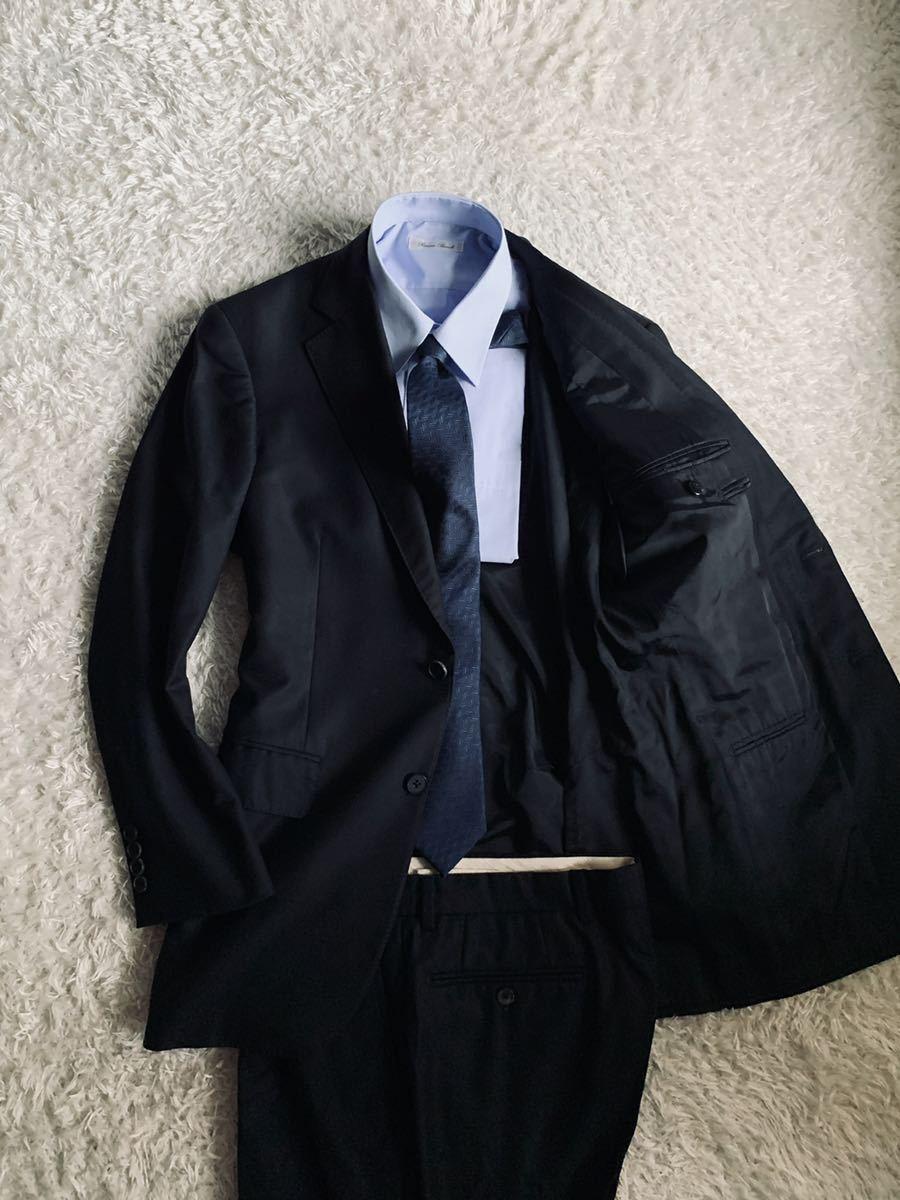 146 超人気 アクアスキュータム 日本製 裏地モノグラム 極上ウール生地 ブラック メンズ スーツ L