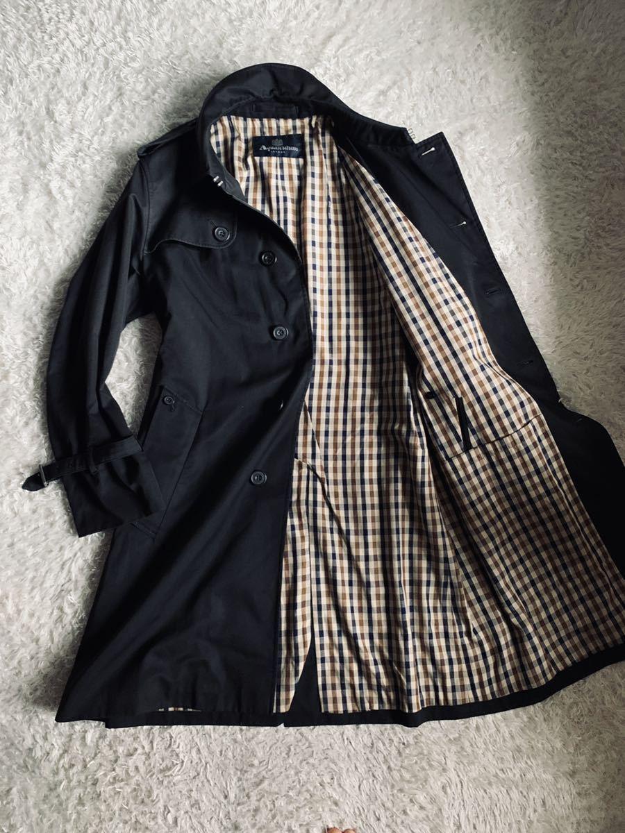 180 超人気定番モデル アクアスキュータム 裏地トレンドのガンクラブチェック ステンカラー ブラック メンズ コート L