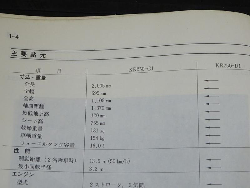 【200829】 KS-1S KR-1R◇カワサキ サービスマニュアル 整備書 補足版 諸元表 配線図【KR250-C1 D1_画像10