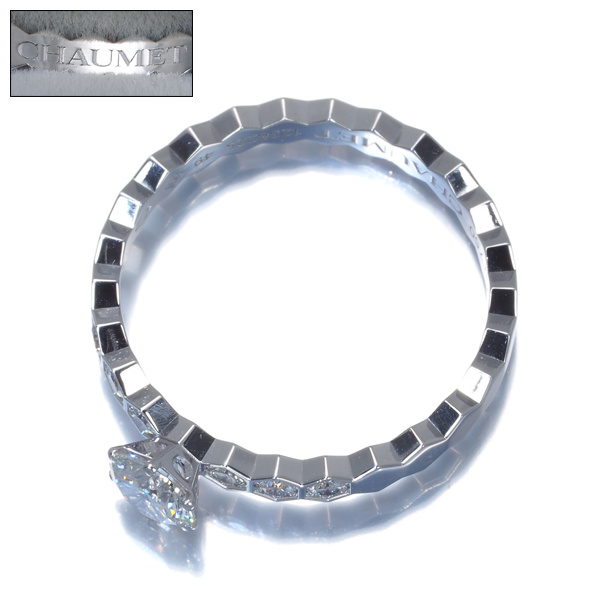 ショーメ リング 指輪 ダイヤ 0.3ct程 ビーマイラブ ハニカム 49号 K18WG 箱【中古】BLJ_画像3