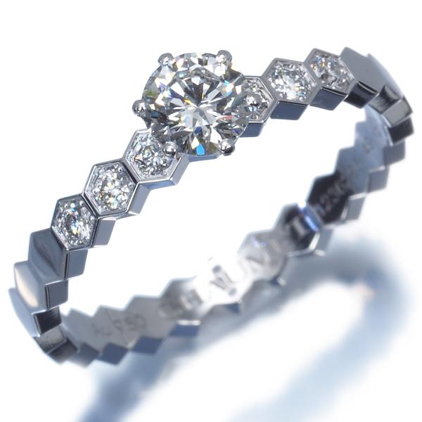 ショーメ リング 指輪 ダイヤ 0.3ct程 ビーマイラブ ハニカム 49号 K18WG 箱【中古】BLJ_画像2