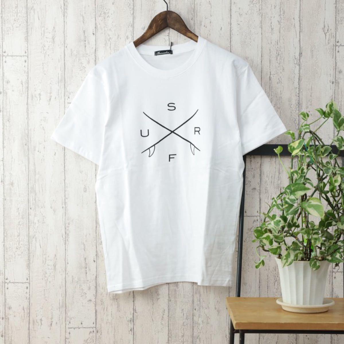半袖Tシャツ メンズ クルーネック ロゴプリント 春 夏 カットソー サーフ