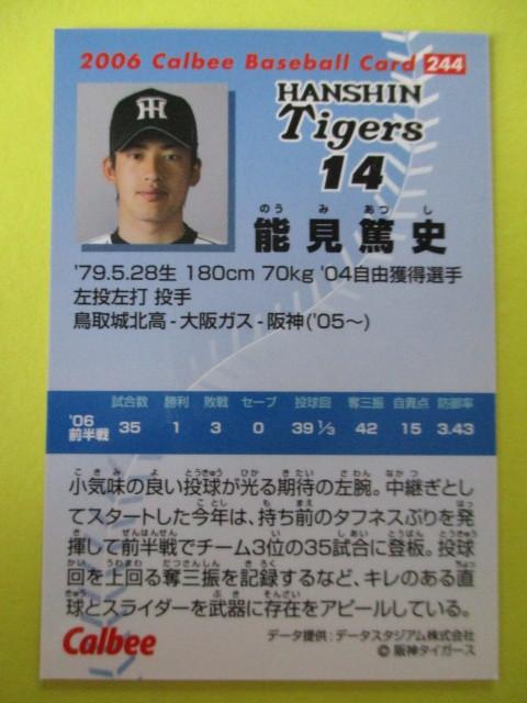 【カルビープロ野球チップス】2006年Calbeeプロ野球カード No.244 能見篤史 投手(阪神タイガース)_画像2
