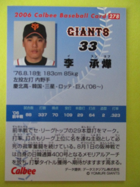 【カルビープロ野球チップス】2006年Calbeeプロ野球カード No.278 李承燁 内野手(読売ジャイアンツ)_画像2