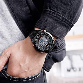 ブラック メンズ ソーラー 腕時計 レディース ストップウォッチ付き 日本的な双機軸 個性的なデジタル多機能 防水性 学 生時代_画像3