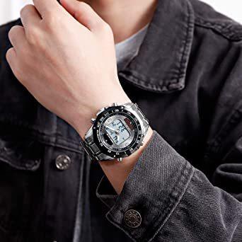 ブラック メンズ ソーラー 腕時計 レディース ストップウォッチ付き 日本的な双機軸 個性的なデジタル多機能 防水性 学 生時代_画像4