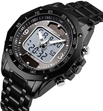 ブラック メンズ ソーラー 腕時計 レディース ストップウォッチ付き 日本的な双機軸 個性的なデジタル多機能 防水性 学 生時代_画像2