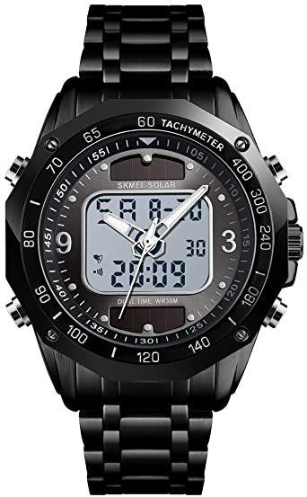 ブラック メンズ ソーラー 腕時計 レディース ストップウォッチ付き 日本的な双機軸 個性的なデジタル多機能 防水性 学 生時代_画像1