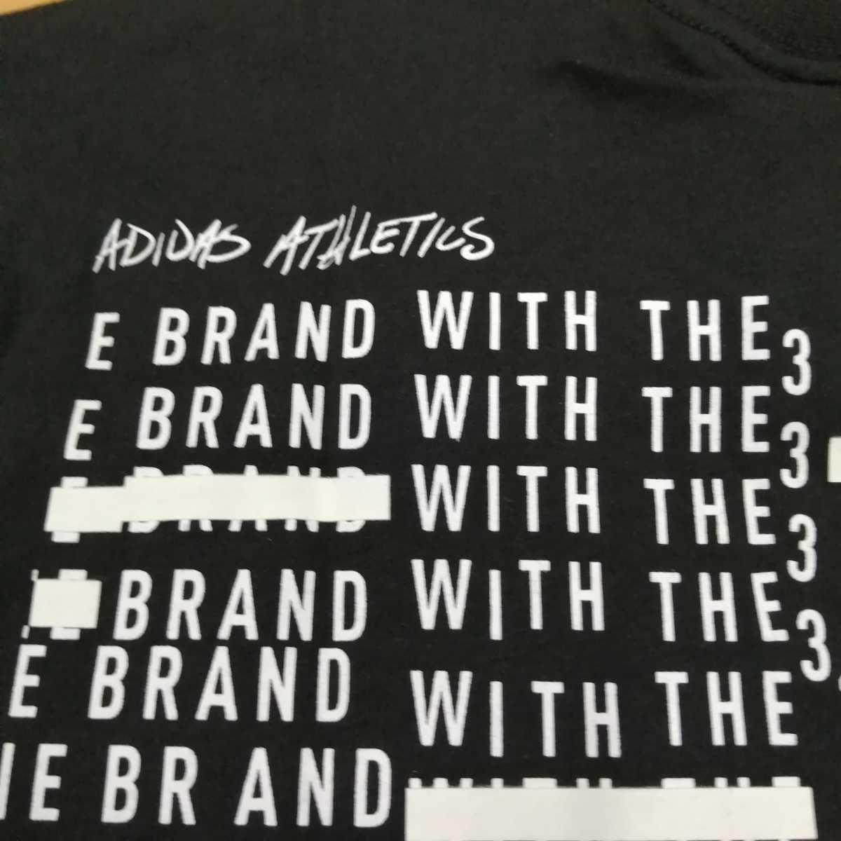 adidas アディダス Tシャツ ブラック 黒 M 新品 送料込 プリントロゴ 3ストライプ ブランド トレーニング ストリート 韓国ファッション