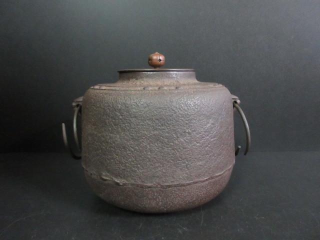 南部 釜師造 万代屋釜(重さ約4.26kg)梅蕾摘銅蓋 釜鐶付 茶道具 状態良好 ◆G1939-3