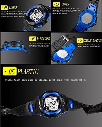 レッド 子供腕時計防水 デジタル表示 ledライト付き アラーム ストップウォッチ機能 12/24時刻切替え多機能スポーツ腕時計_画像5