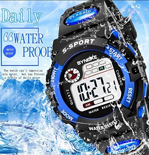 レッド 子供腕時計防水 デジタル表示 ledライト付き アラーム ストップウォッチ機能 12/24時刻切替え多機能スポーツ腕時計_画像6