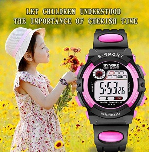 レッド 子供腕時計防水 デジタル表示 ledライト付き アラーム ストップウォッチ機能 12/24時刻切替え多機能スポーツ腕時計_画像7