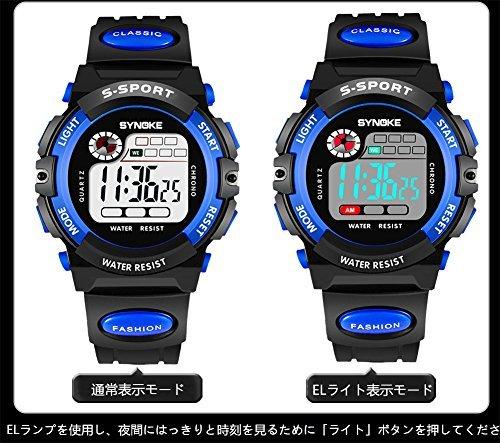 レッド 子供腕時計防水 デジタル表示 ledライト付き アラーム ストップウォッチ機能 12/24時刻切替え多機能スポーツ腕時計_画像2