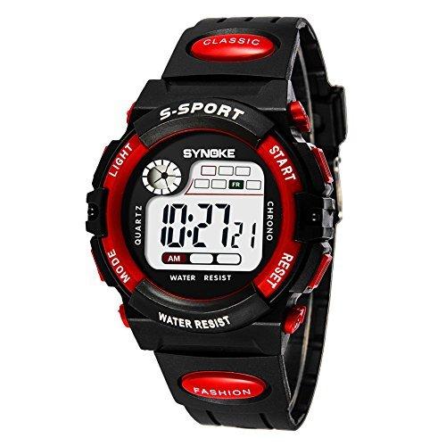レッド 子供腕時計防水 デジタル表示 ledライト付き アラーム ストップウォッチ機能 12/24時刻切替え多機能スポーツ腕時計_画像1