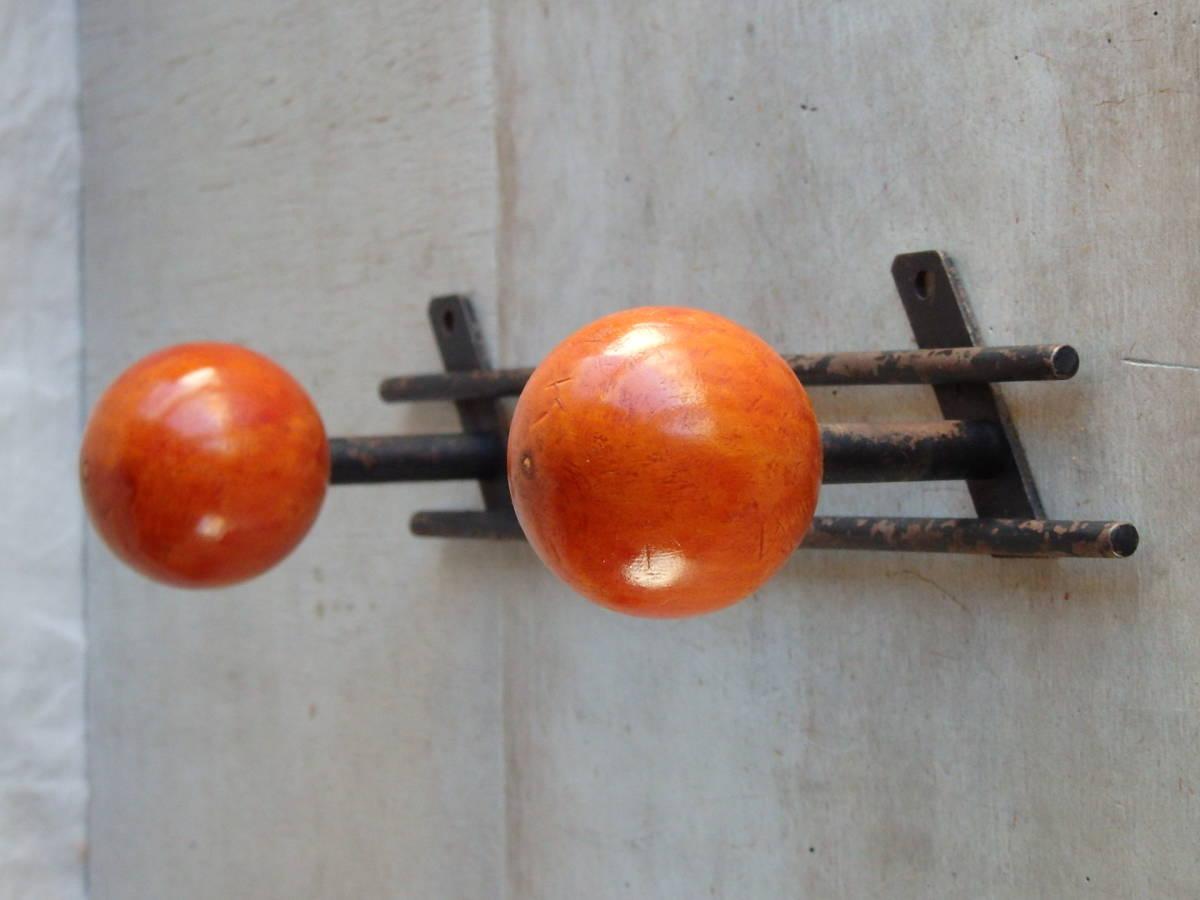 フランスアンティーク 壁掛け コートフック ハンガー 什器 ディスプレイ 家具 雑貨 蚤の市 ウォール 帽子 2連_画像7