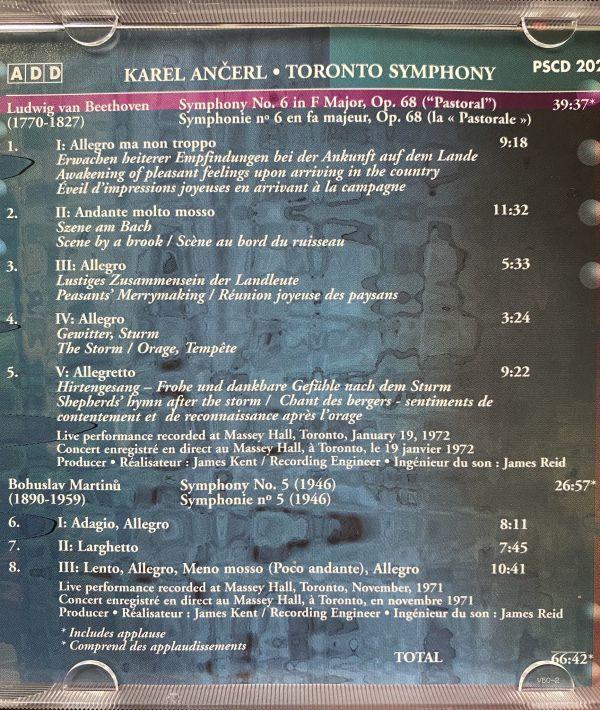 ◆【CBC Records】カレル・アンチェル &トロント交響楽団 ベートーヴェン:交響曲第6番「田園」 マルティヌー:交響曲第5番 ライブ 輸入盤◆_画像4