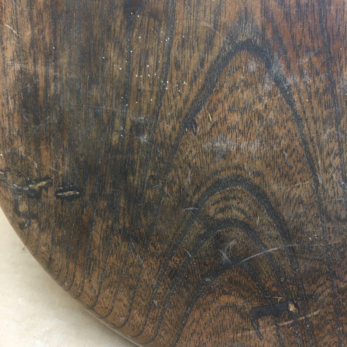 丸盆 煎茶道具 お盆 無垢材木目が美しい煎茶盆 刳り貫き茶盆 時代古民具 古美術 古道具 直径約24cm_画像8