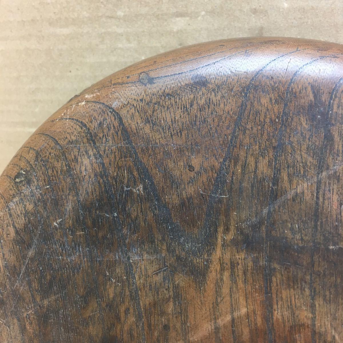 丸盆 煎茶道具 お盆 無垢材木目が美しい煎茶盆 刳り貫き茶盆 時代古民具 古美術 古道具 直径約24cm_画像9