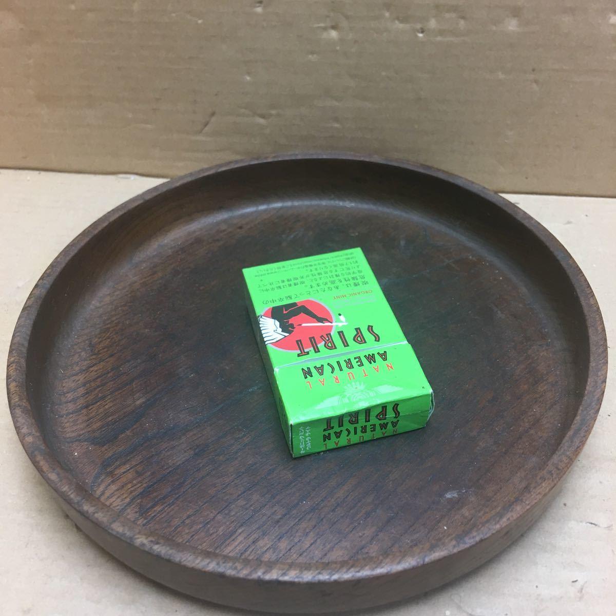 丸盆 煎茶道具 お盆 無垢材木目が美しい煎茶盆 刳り貫き茶盆 時代古民具 古美術 古道具 直径約24cm_画像1