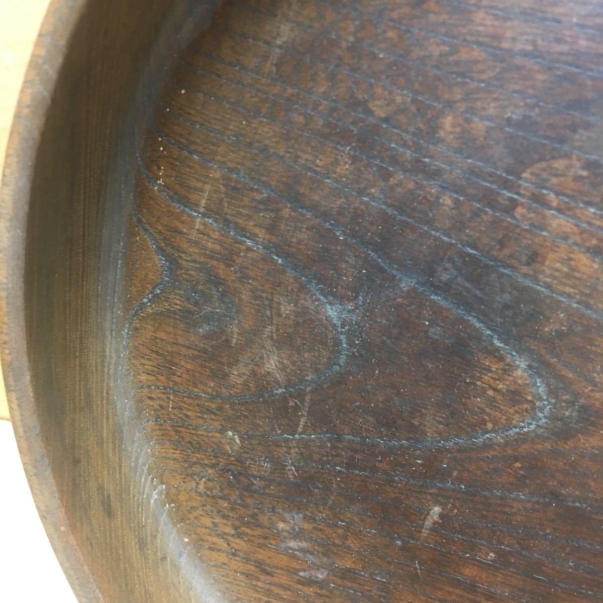 丸盆 煎茶道具 お盆 無垢材木目が美しい煎茶盆 刳り貫き茶盆 時代古民具 古美術 古道具 直径約24cm_画像3