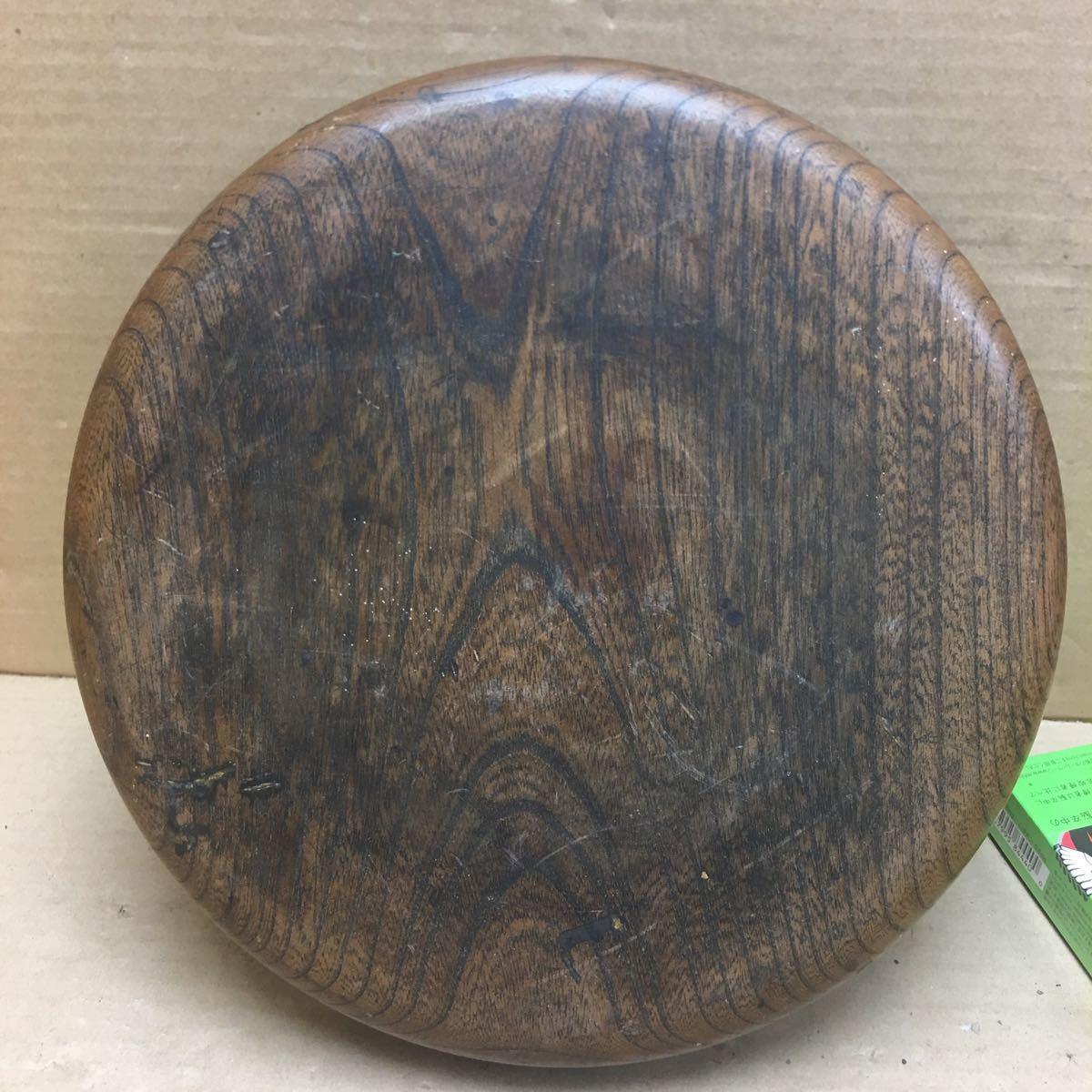 丸盆 煎茶道具 お盆 無垢材木目が美しい煎茶盆 刳り貫き茶盆 時代古民具 古美術 古道具 直径約24cm_画像7