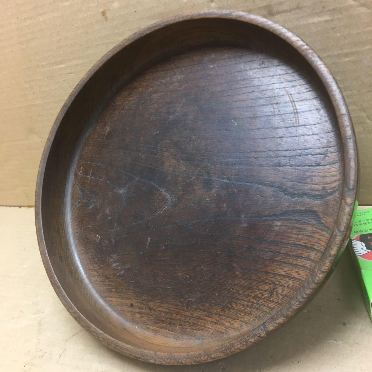 丸盆 煎茶道具 お盆 無垢材木目が美しい煎茶盆 刳り貫き茶盆 時代古民具 古美術 古道具 直径約24cm_画像10