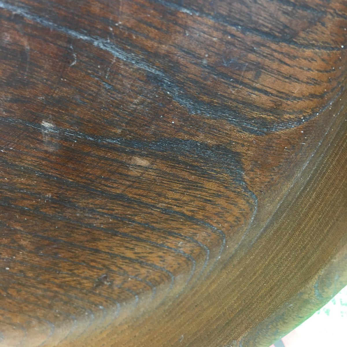 丸盆 煎茶道具 お盆 無垢材木目が美しい煎茶盆 刳り貫き茶盆 時代古民具 古美術 古道具 直径約24cm_画像4