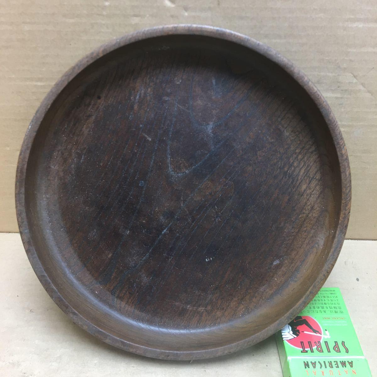 丸盆 煎茶道具 お盆 無垢材木目が美しい煎茶盆 刳り貫き茶盆 時代古民具 古美術 古道具 直径約24cm_画像2