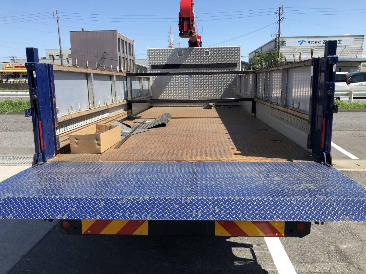 トラック 荷台 平ボディー 左右2方開アルミあおり 新明和工業パワーゲート付き_画像6