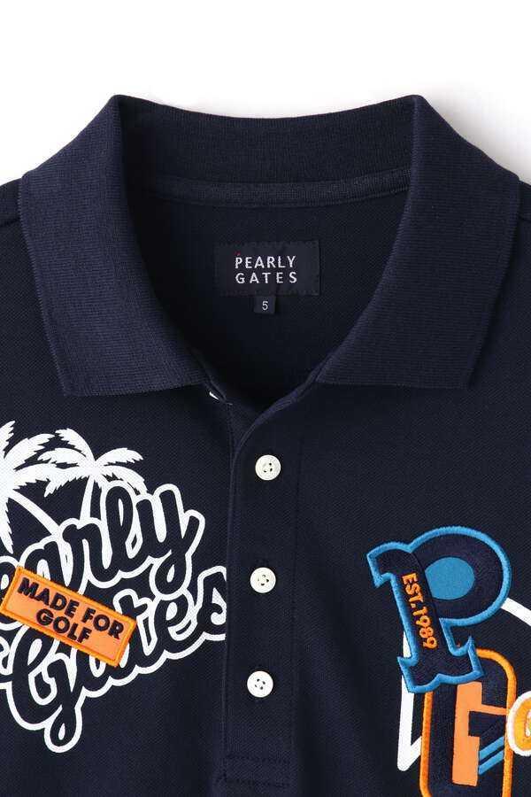 新品正規品 パーリーゲイツ サイズ1 2020最新作 サラサラ素材 ネイビー 鹿の子 ポロシャツ 送料無料_画像4