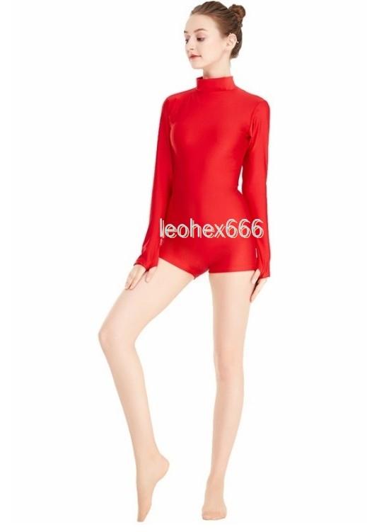 長袖背中ファスナー型レオタード コスプレ衣装 ハイレグレオタード レースクイーンレオタード レッド Lサイズ_画像3
