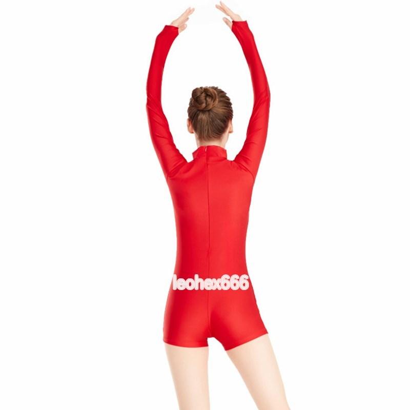 長袖背中ファスナー型レオタード コスプレ衣装 ハイレグレオタード レースクイーンレオタード レッド Lサイズ_画像2